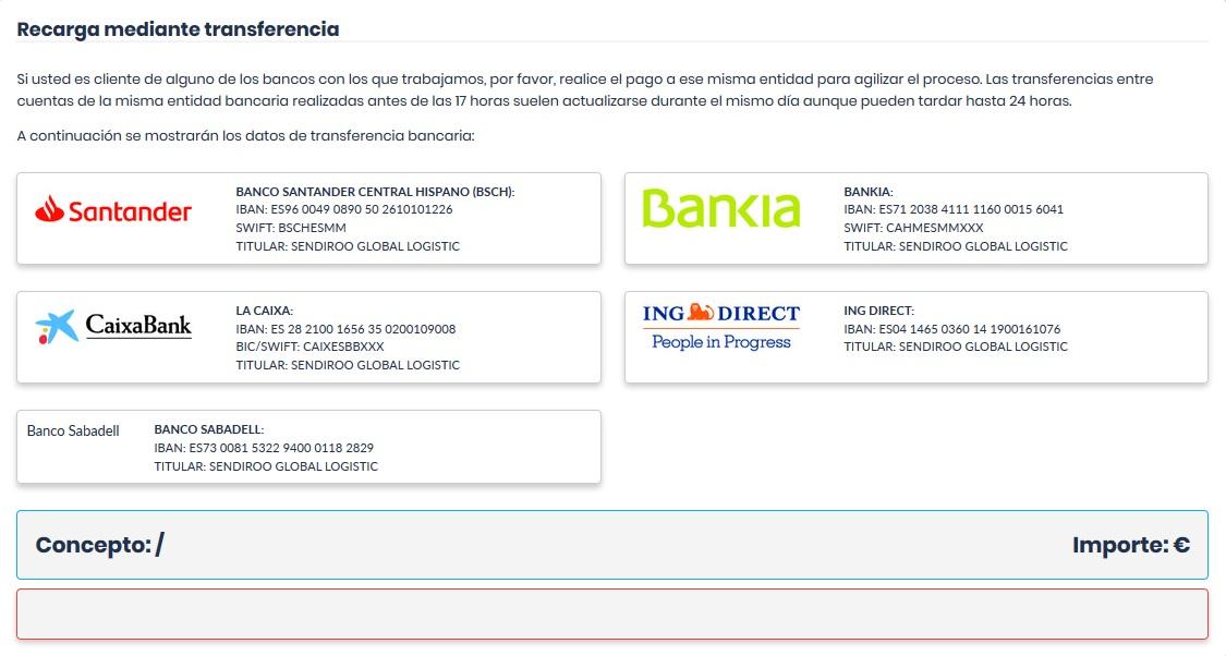 Bancos para hacer recargas de saldo