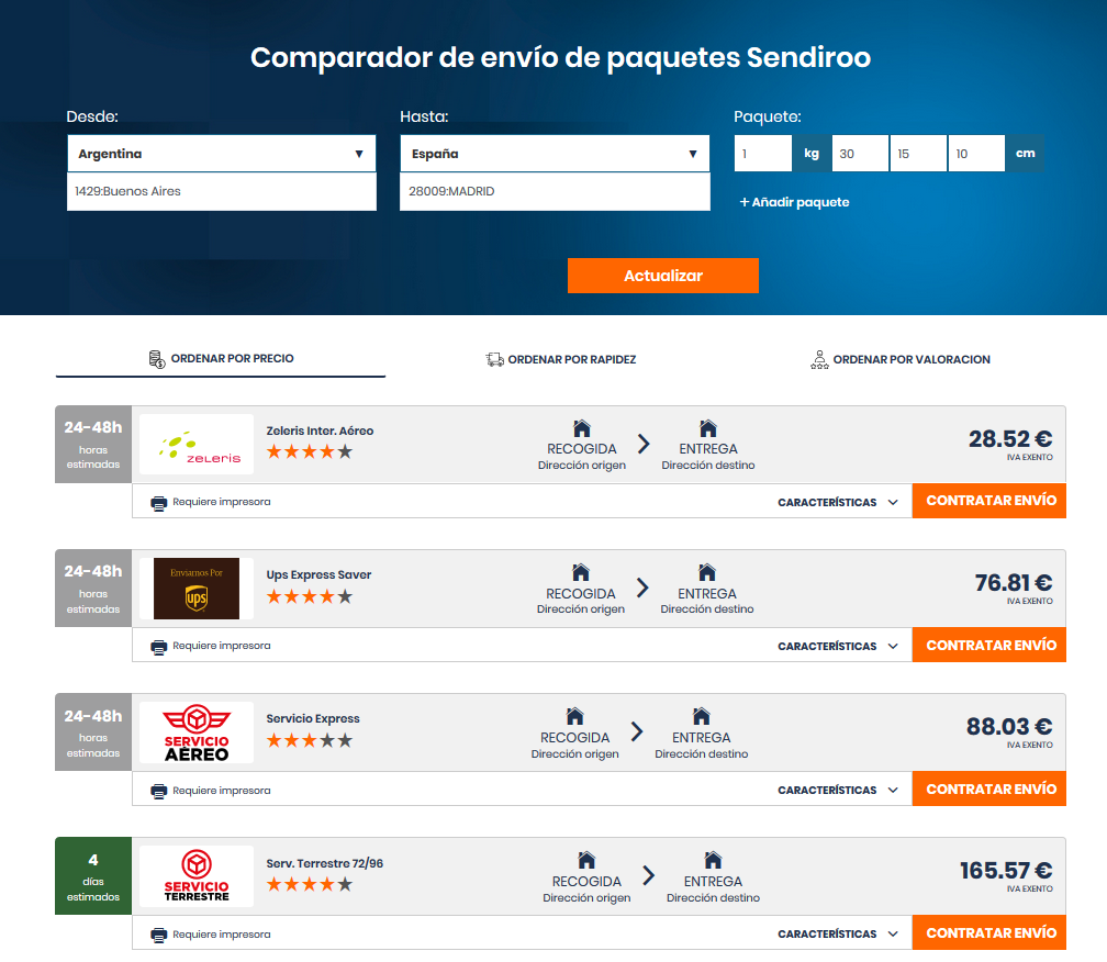 Precio de un envío a España desde Argentina