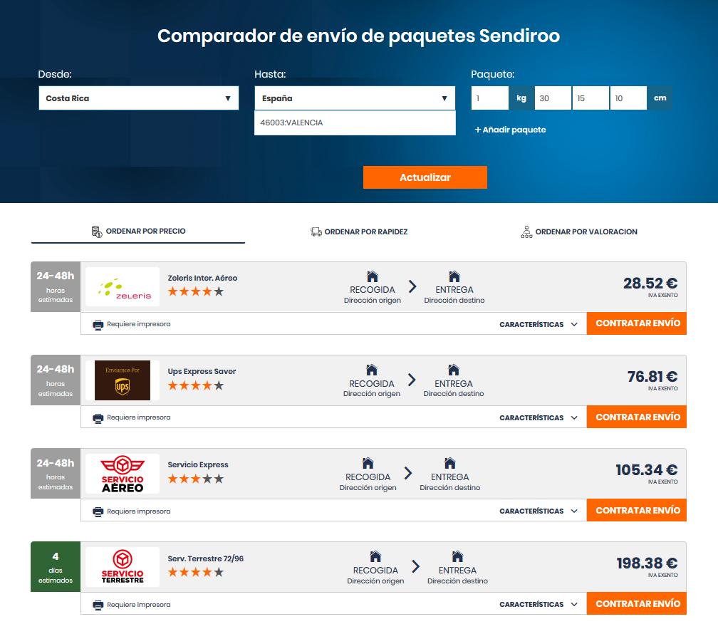 Precio de un envío a España desde Costa Rica