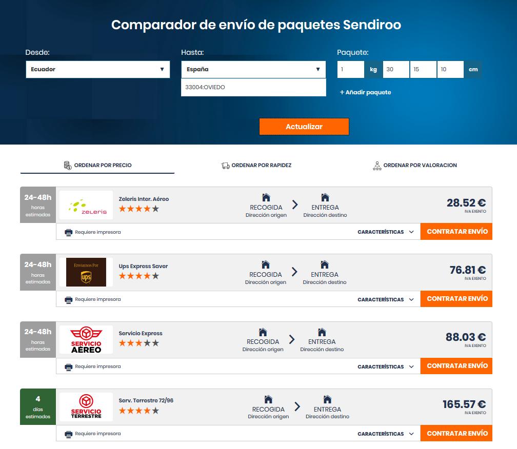 Precio de un envío a España desde Ecuador