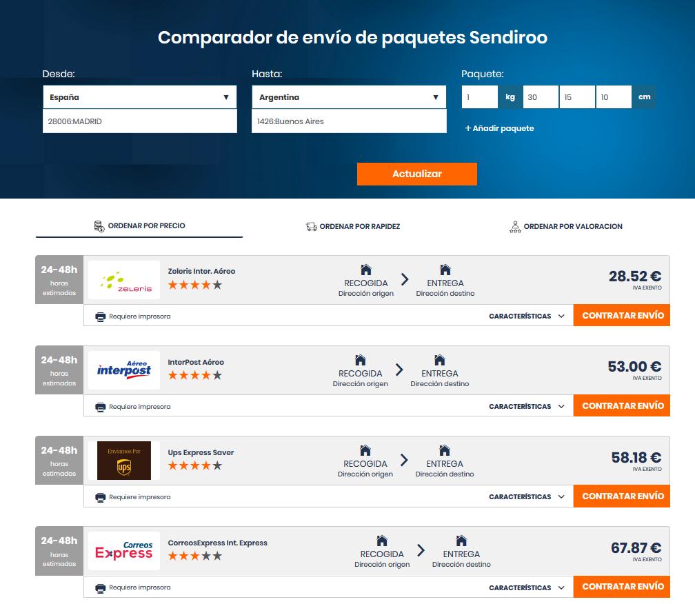 Precio de un envío a Argentina desde España